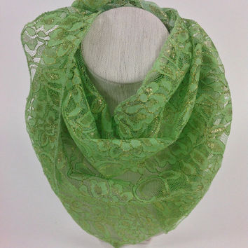 Green Lace scarf, Gold Metalic lace bandana, Holiday Scarf, Gift for coworker, Fancy scarf gift, Gift for Mom, Last minute gift