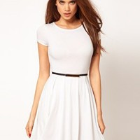 ASOS Skater Dress with Cap Sleeves at asos.com