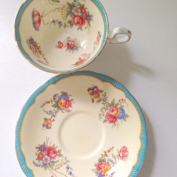 English Aynsley Fine Bone China Tea Cup and Saucer Turquoise/Aqua Tea Party - Ca. 1934 - 1950's