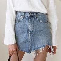 Jeans Skirt Women High Waist Irregular Edges Denim Skirts