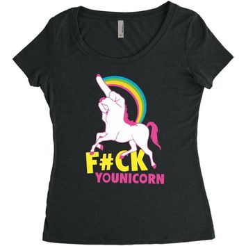 gay pride f#ck younicorn funny rude unicorn Women's Triblend Scoop T-shirt