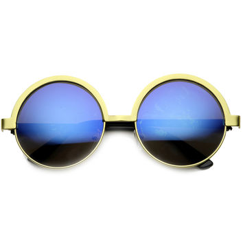 Women's Retro Round Metal Mirror Lens Sunglasses 9813