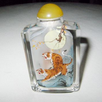 Interior Painted Glass Snuff Bottle Amber Stopper Tiger Moon