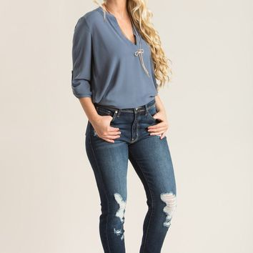 Amanda Long Blue Blouse