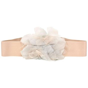 Lanvin Blush Elastic Belt w/ Flower sz L