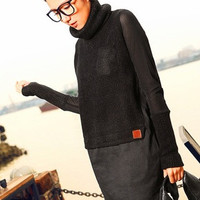 Women Knit Wear Fashion Solid Pullover Long Sleeve Bottoming Shirt = 1945791364