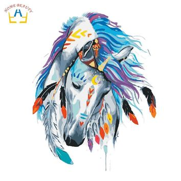 oil paintings coloring by numbers on canvas nordic pictures animals horse painting for living room home decor wall art W6710