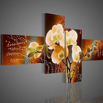 Butterfly Orchid Flowers panel wall art painting on canvas