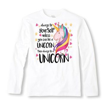 Always Be Yourself Unless You Can Be A Unicorn Long Sleeve Shirt - Kids Tee - Infant - Toddler - Trendy Kids - Cute Shirt - Funny Kid Shirt