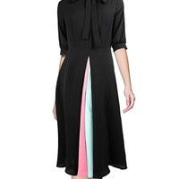 Women's Vintage Tie Neck Elbow Sleeve Black Casual Midi Shirtdress