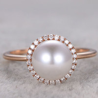 8mm Akoya pearl ring diamond engagement ring Seawater pearls halo 14k/18k yellow gold