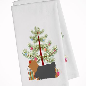 Yorkshire Terrier Yorkie Merry Christmas Tree White Kitchen Towel Set of 2 BB2952WTKT