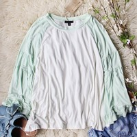Ruffle Baseball Tee in Sage