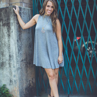Mock Neck Swing Dress in Grey