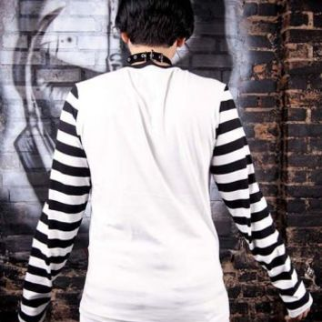 Tripp Longsleeve White w/ Striped Sleeves :: VampireFreaks Store :: Gothic Clothing, Cyber-goth, punk, metal, alternative, rave, freak fashions