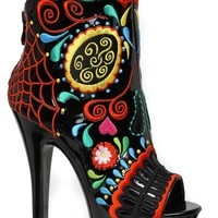 Black Sugar Skull Print Ankle Boot With 6 Inch Heels