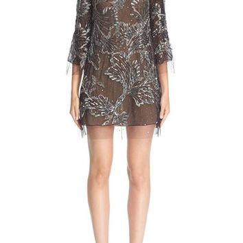 Marchesa Embellished Three Quarter Sleeve Tulle Tunic | Nordstrom