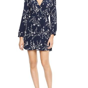 Gap Factory Floral Tulip Dress - floral embroidry black