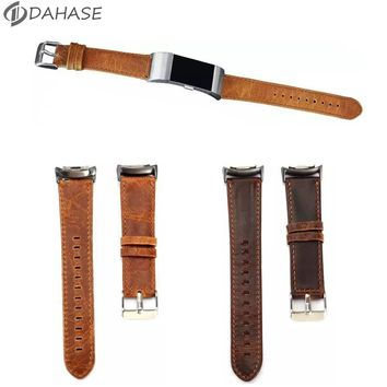 Brown Coffee Genuine Leather Wrist Strap for Fitbit Charge 2 Watch Band Bracelet for Fitbit Charge 2 Wristband with Connector