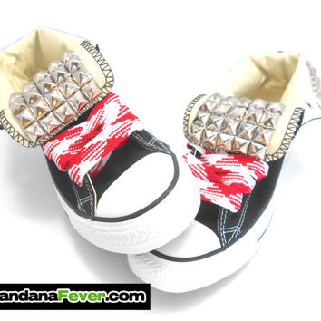 Studded Black Converse Custom Chuck Taylor Hi Top Silver Pyramid Studs Tongues + FREE SHIPPING + Free Peppermint Laces - by Bandana Fever
