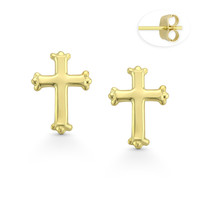 St. Thomas Medieval Christian Cross Stud Earrings w/ Pushbacks in 14k Yellow Gold - BD-ES044-14Y