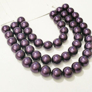 8mm Purple Glass Pearl Beads / Plum Glass Beads / DIY Jewelry Making / Crafting / Crafty / Glass Pearls / Glass Beads / DIY Craft