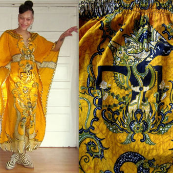 70s Thai Caftan Batik Print Yellow Cotton Dashiki Maxi Kaftan Dress size S M L XL