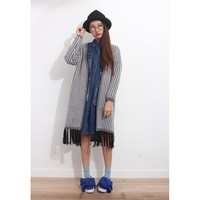 Vertical Pinstripe Oversized Knit Coat