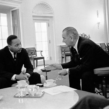 Martin Luther King Jr. and President Lyndon Johnson Oval Office 1963