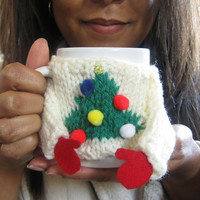 Ugly Christmas Sweater Coffee Mug Cozy – Knit Tacky Sweater Cozy with Christmas Tree – Christmas Coffee Mug – Secret Santa Coworker Gift