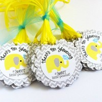 Little Peanut Baby Elephant Favor Tags in Yellow, Gray and Chevron