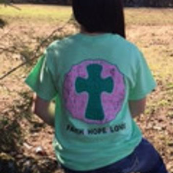 Southern Chics Sassy Class Collection Preppy Cross Faith Hope Love Distressed Bright T Shirt