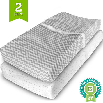 Ziggy Baby Changing Pad Cover Cradle Bassinet Sheets Fitted Jersey Cotton (2 Pack) Grey/White 2 Pack