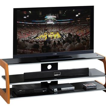 "Techni Mobili Black Tempered Glass & Wood 65"" TV Stand"