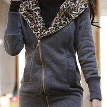 Leopard Inclined Zipper Hooded Sweater