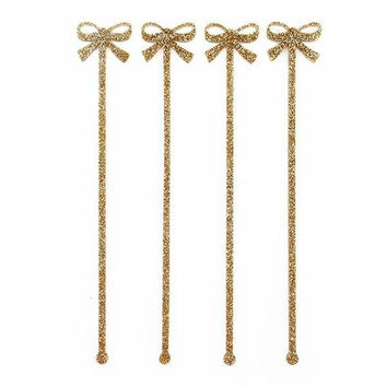 GOLD BOW DRINK STIRRERS
