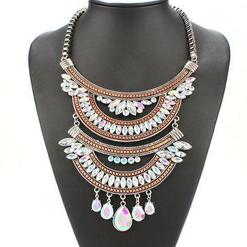 Multicolor Vintage Layered Water Drop Cut Out Necklace