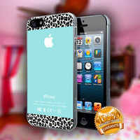 Apple Tiffany Teal and Black Leopard - Print on hard plastic case for iPhone case. Select an option
