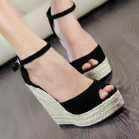 Summer new arrival 2017 women's shoes fashion sexy straw braid buckle open toe platform wedges female 10cm high heels sandals