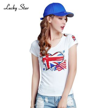 LUCKY STARG Brand New Fashion Sequin Heart Pattern T Shirt Summer Style Women Cotton O Neck Short Sleeved Female Tees D282