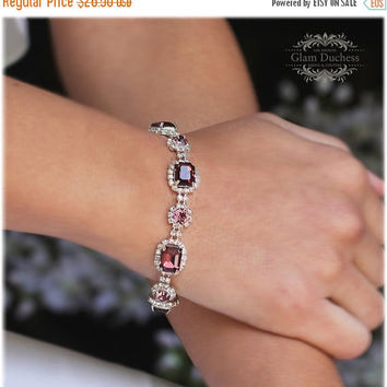 Bridal bracelet, Burgundy Crystal Wedding jewelry,bridal jewelry, bridesmaid bracelet, Special Occasion formal bracelet, crystal bracelet