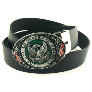 Rock Style Metal Belt Buckle with American Flag