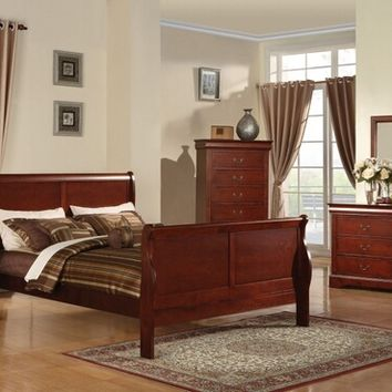 5 pc louis philippe iii collection cherry finish wood queen bedroom set with curved ends sleigh bed headboard and panel footboard