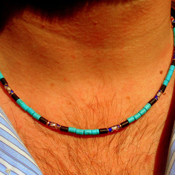 Mens GEMSTONE Beaded NECKLACE, Onyx & Turquoise.  Mala Surfer boho Necklace,Healing spiritual necklace