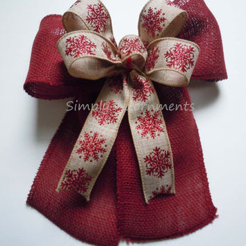 Red Sparkle Snowflakes Burlap Christmas Bow Rustic Burlap Wreath Swag Door Bow Red Burlap Christmas Lantern Bow Burlap Gift Wrap Bow