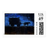 Carriage at sunset postage