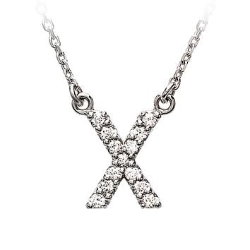 1/8 Cttw G-H, I1 Diamond initial Necklace in 14k White Gold, Letter X