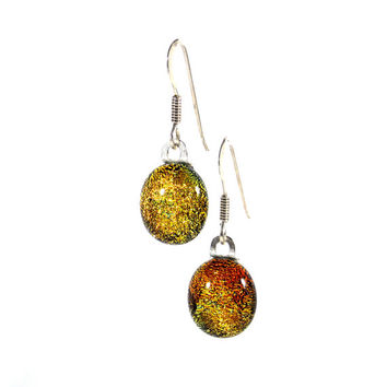 Orange and Golden Yellow Dichroic Glass Earrings, Fused Glass Jewelry