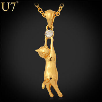 U7 Cute Cat Necklace Pet Jewelry 18K Gold/Platinum Plated Rhinestone Trendy Pendant Necklace For Women Animal Cat Jewelry P379
