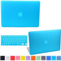HDE MacBook Air 13 Case Solid Color Matte Plastic Slim Hard Shell Snap On Case with Keyboard Skin Fits Models A1369 / A1466 (Light Blue)